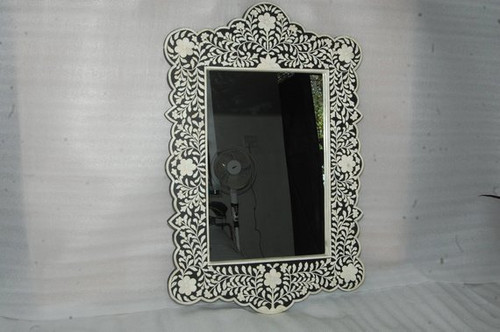 Black Bone Inlay Floral Mirror Frame
