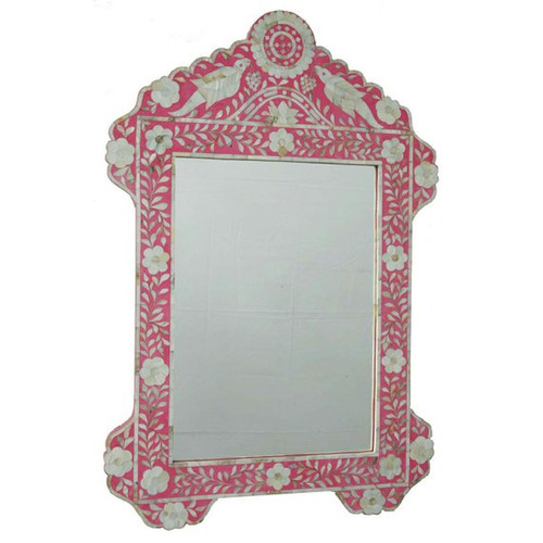 Mother of Pearl Inlay Bird Design Mirror Frame in Pink