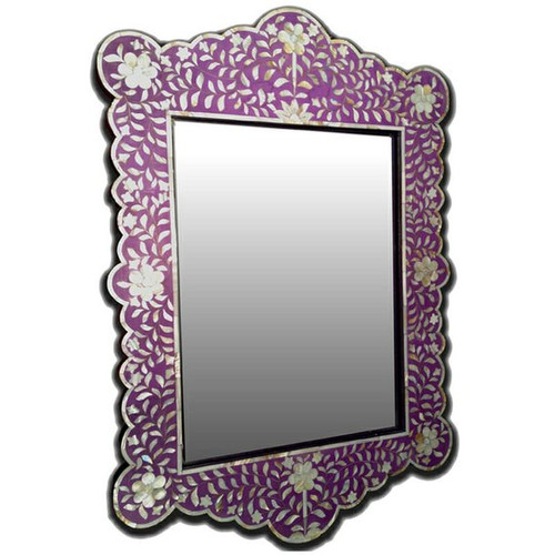 Floral Design Mother of Pearl Inlay  Mirror Frame in Purple
