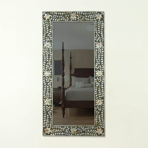 Rectangular Floral Mother of Pearl Inlay Mirror in Black