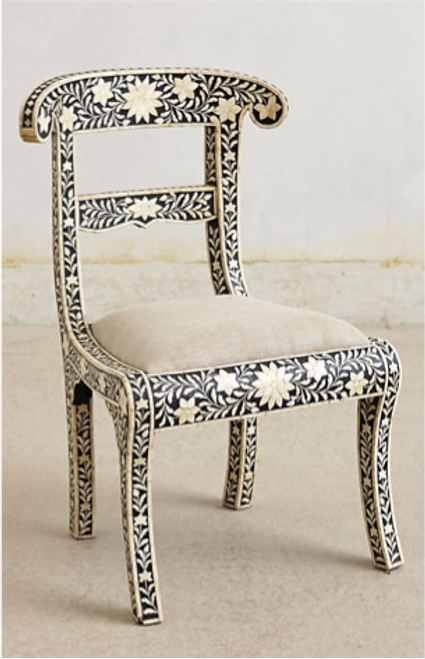 Handmade Bone Inlay Black Chair Floral Design