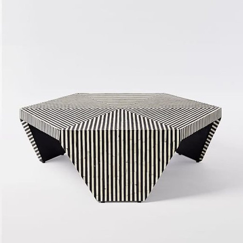 Optical Strip Pattern Hexagonal Bone Inlay Coffee Table or Centre Table in Black