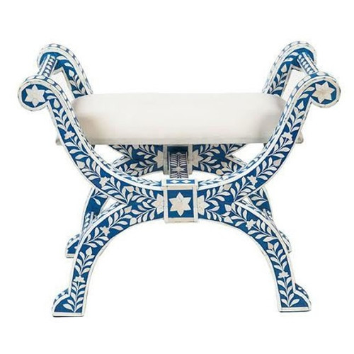 Floral Design Bone Inlay Stool Roman Stool in Blue