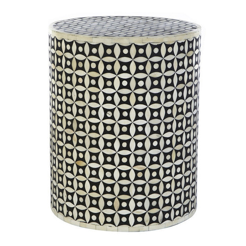 Eye Design Bone Inlay Round Stool Table in Black