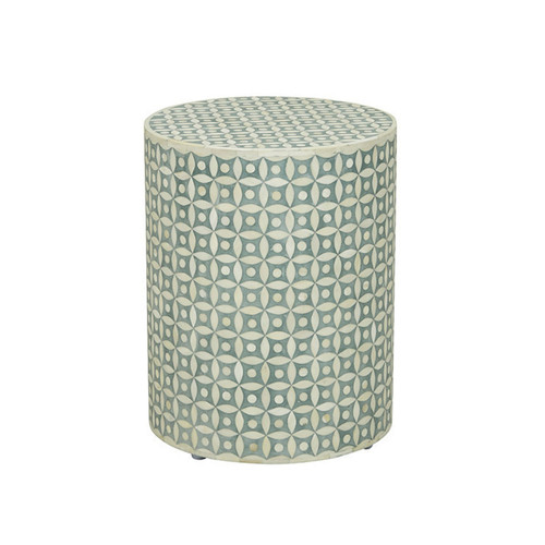 Eye Design Bone Inlay Round Stool Table in Light Green