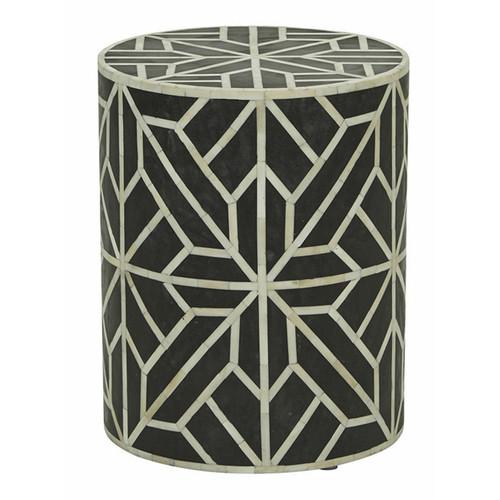 Handmade Geometric Design Bone Inlay Round Stool Table in Black