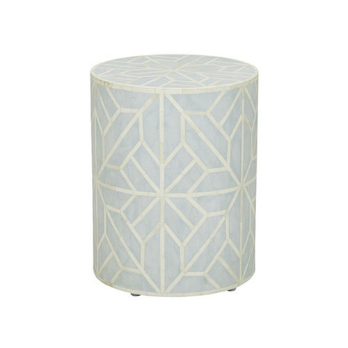 Handmade Geometric Design Sky Blue Bone Inlay Round Stool Table