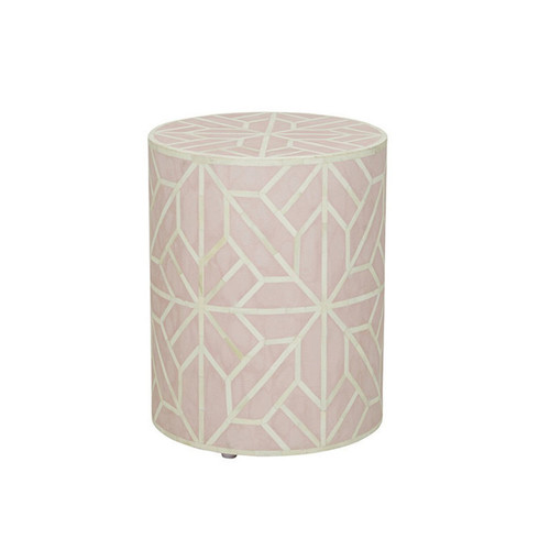 Handmade Geometric Design Bone Inlay Round Stool in Light Pink