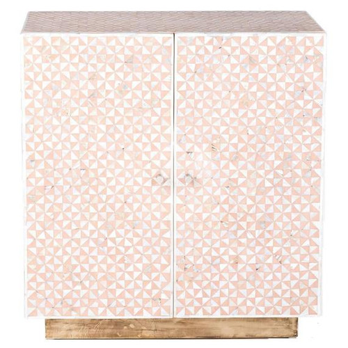 Geometric Design Mother of Pearl Cabinet with Brass Polished Base in Light Pink