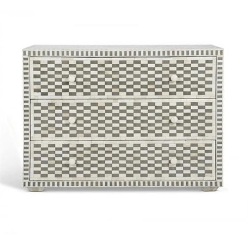 Bone Inlay Chest of 3 Drawers Chess Board Design in Grey & White