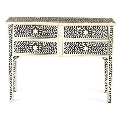 Floral Bone Inlay Console with 4 Drawers in Black
