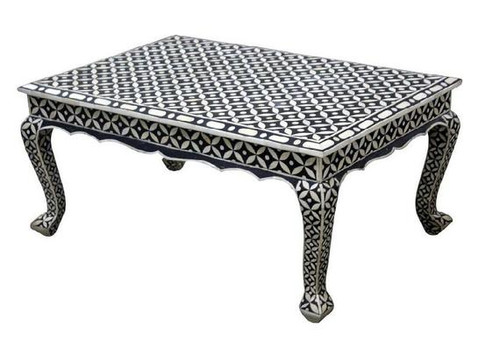 Eye Design Bone Inlay Black Coffee Table