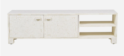 Leaf Pattern Bone Inlay Media Console in White