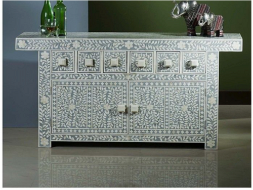 Floral Design Bone Inlay Cabinet Grey