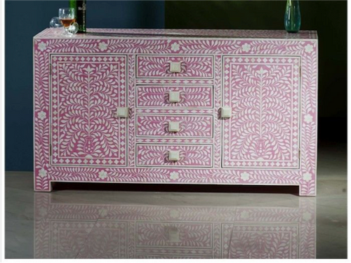 Floral Design Bone Inlay Cabinet Pink