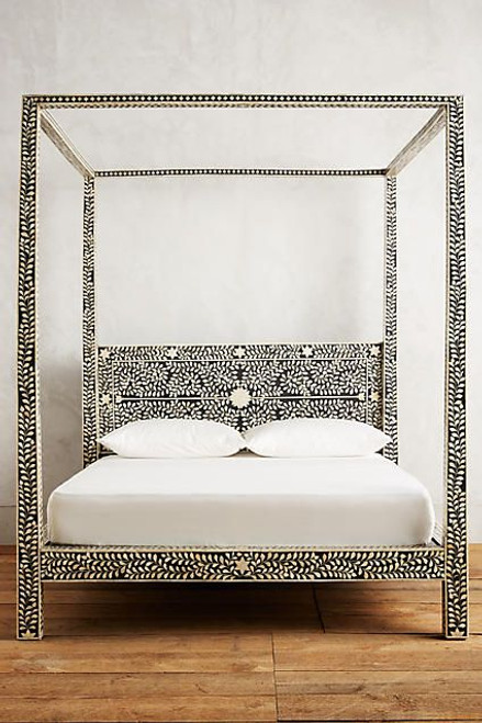 Bone Inlay 4 Post Bed Black