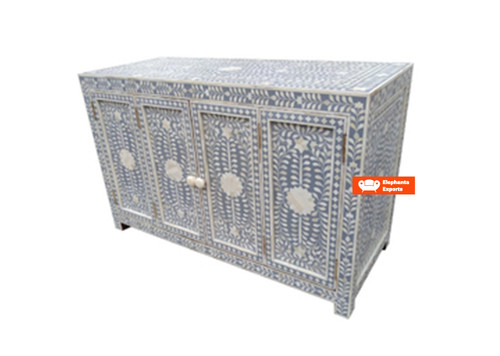 Bone Inlay 4 Door Buffet Table Floral Design in Grey