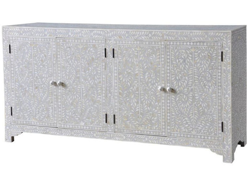 Floral Bone Inlay Side Board in Grey with 4 doors