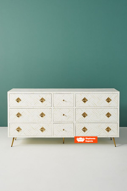 Striped Design Bone Inlay Chest of 9 Drawers in White