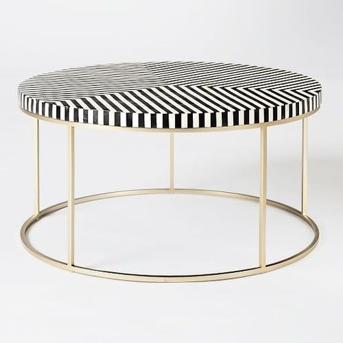 Striped Bone Inlay Coffee Table in Black with Metal Stand Round