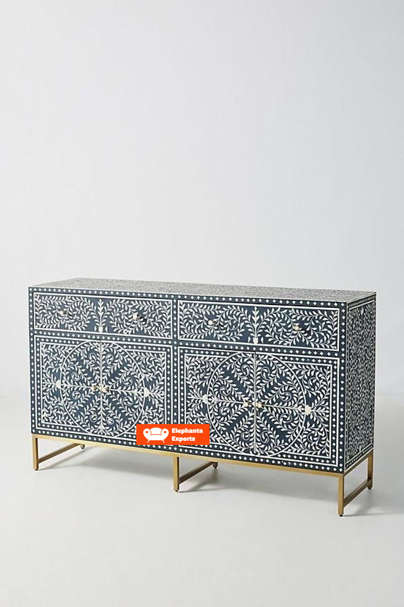 Picture of: Floral Design Bone Inlay 4 Doors Buffet Table In Black Elephanta Exports