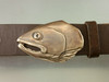 Salmon fish portrait buckle in bronze.  This is the standard brown patina on 1.25 inch belt