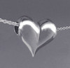 Heart Pendant Necklace with Large Puffed Heart Slider Bead in Sterling Silver