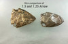 Bronze Arrowheads for 1.5 and 1.25 inch belts for size and texture comparison  design with brow patina.
