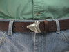 White bronze sharks tooth with natural patina and satin finish for 1 1/4 belts