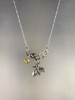 5 Cell Honeycomb Necklace in Sterling Silver with Bee & Citrine Dangle