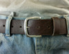 """""""The Explorer"""" Buckle  for 1.5 inch (38 mm) in Sterling Silver with Hammered Texture shown on 1.5 belt on jeans"""
