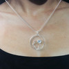 Moon Flower Pendant shown on a snake chain