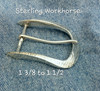 Farrier Work Horse buckle in sterling silver with a hammer texture