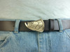 The tarpon buckle in bronze with the natural finish on the casual strap cowhide belt