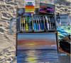 The process using water soluble  oil pastels and art sticks