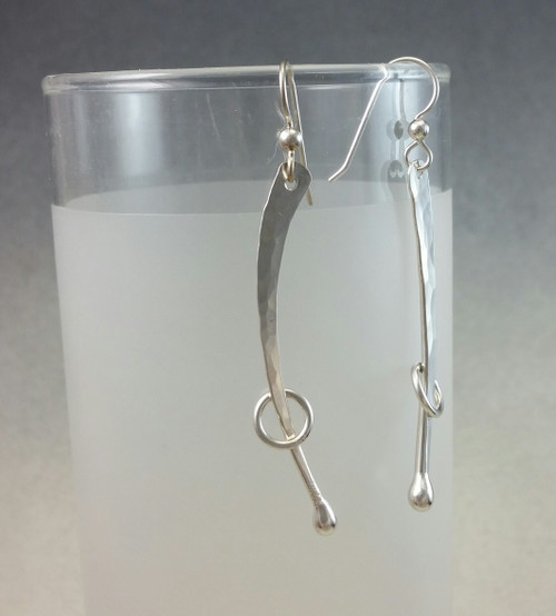 Long Branch Forged Earring with Ring and Forged Top in Sterling Silver