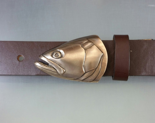 Blue fish portrait buckle in bronze with brown patina shown on a 1.25 belt sold separately
