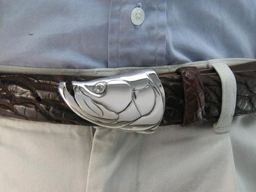 Tarpon buckle in sterling sliver shown on a genuine American Alligator belt sold separately