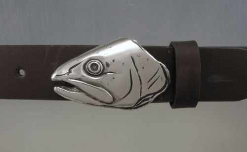 trout fish portrate in silver on an 1.25 belt sold sperately