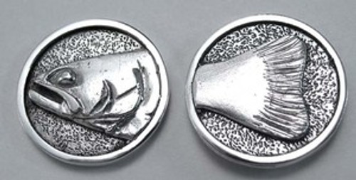 Trout Fish Golf Ball Spotter Heads and Tails Flipping Coin in Sterling Silver