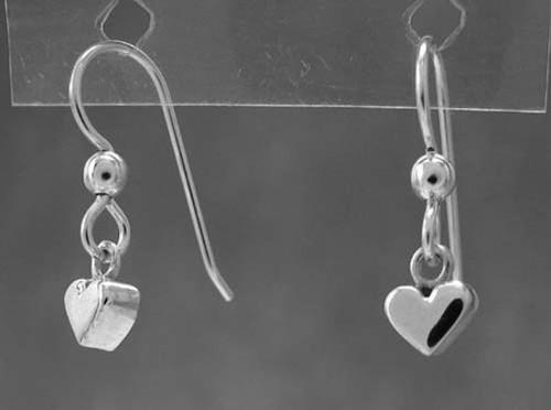 Heart Earrings Small Flat Drop Dangles in Sterling Silver