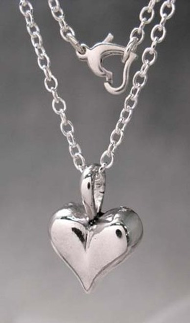 Big Pillow Heart Pendant Necklace in Sterling Silver