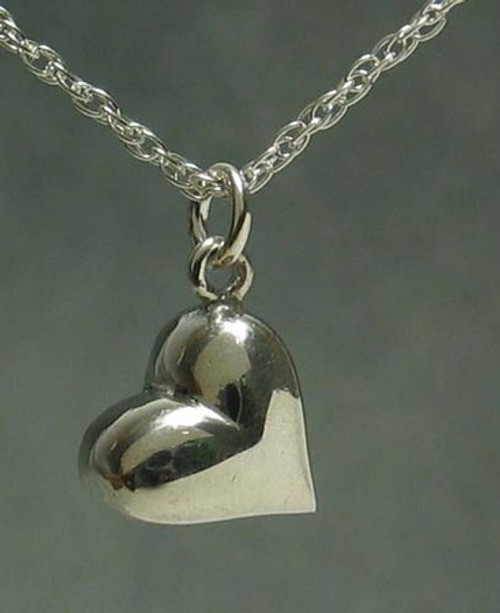 Heart Pendant Necklace with Tilted Puffed Heart 'Hanging Out' in Sterling Silver