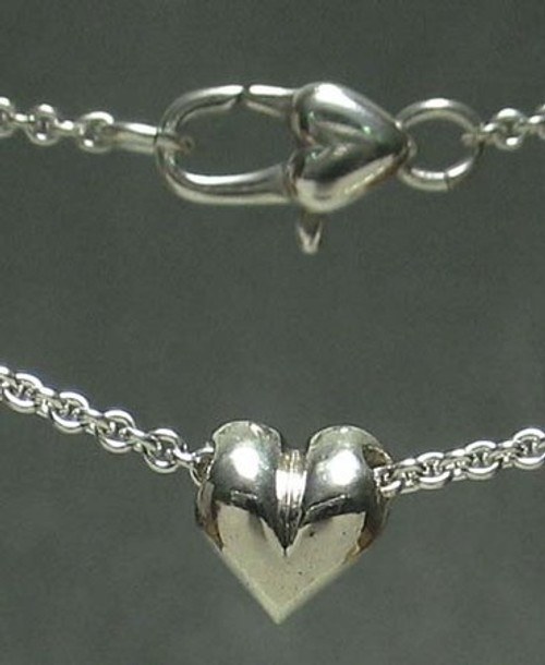 Heart Pendant Necklace with Baby Pillow Heart Slider Bead in Sterling Silver