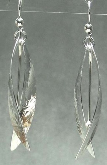 Forest Life Earrings Textured Stem and Leaf Drop Dangles in Sterling Silver