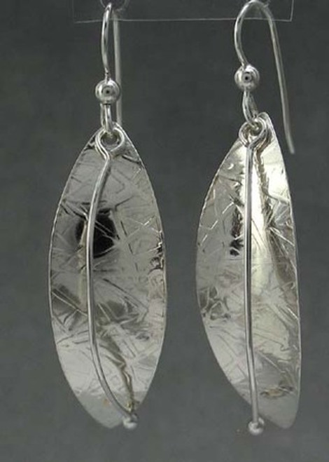 Forest Life Earrings Textured Leaf and Stem Drop Dangles in Sterling Silver
