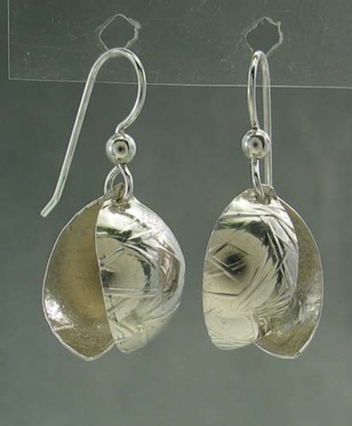 Forest Life Earrings Textured Acorn Drop Dangle Leaves in Sterling Silver