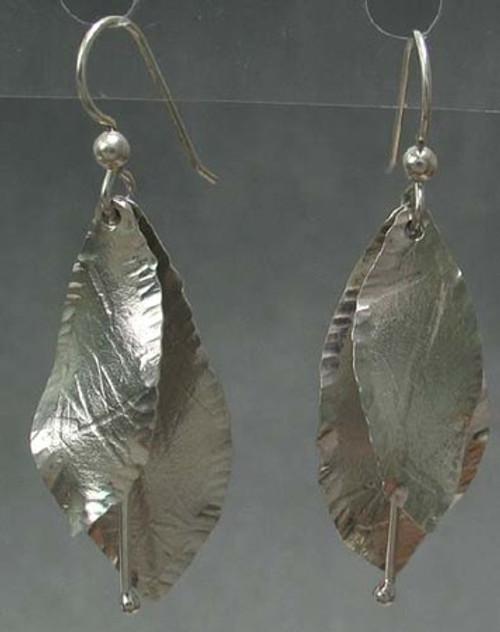 Forest Life Earrings Double Leaf Drop Dangles in Sterling Silver