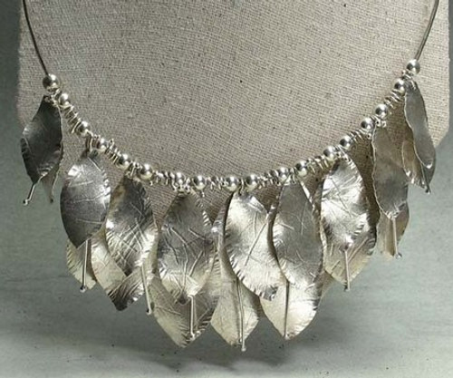 double leaf necklace in sterling silver