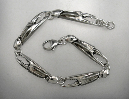 Crab Claw bracelet. solid Sterling miniature blue crab clock